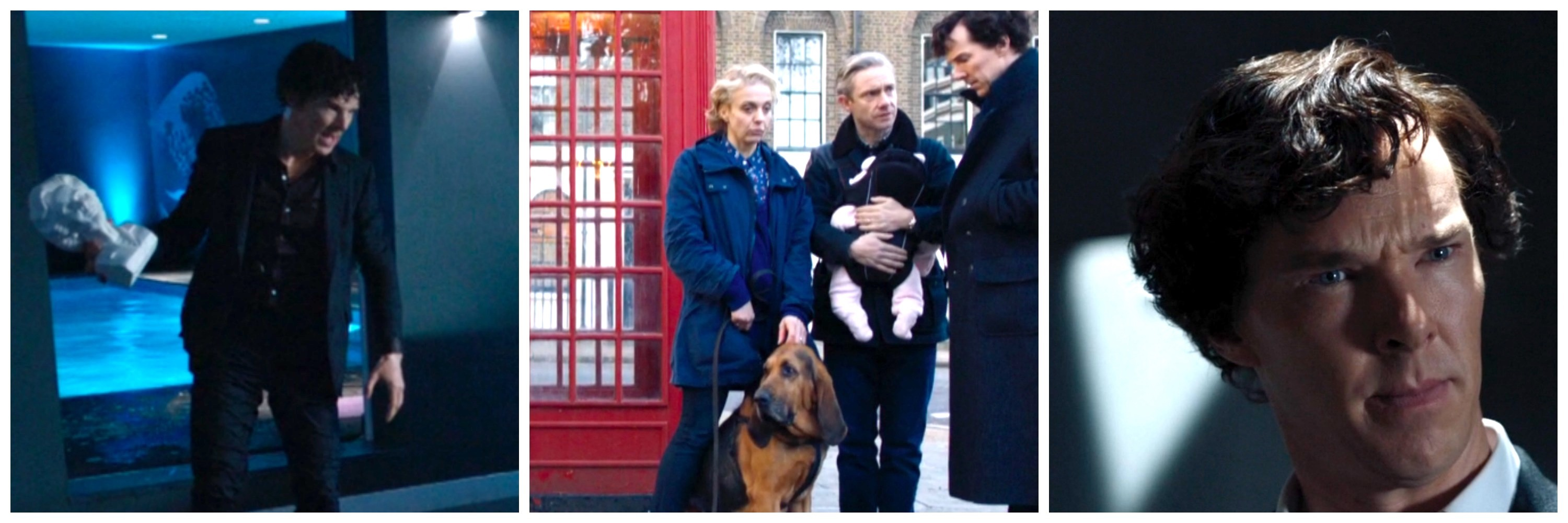 LEFT: Sherlock with a bust of Thatcher. CENTER: Toby takes his time. RIGTH: Sherlock, you know nothing.