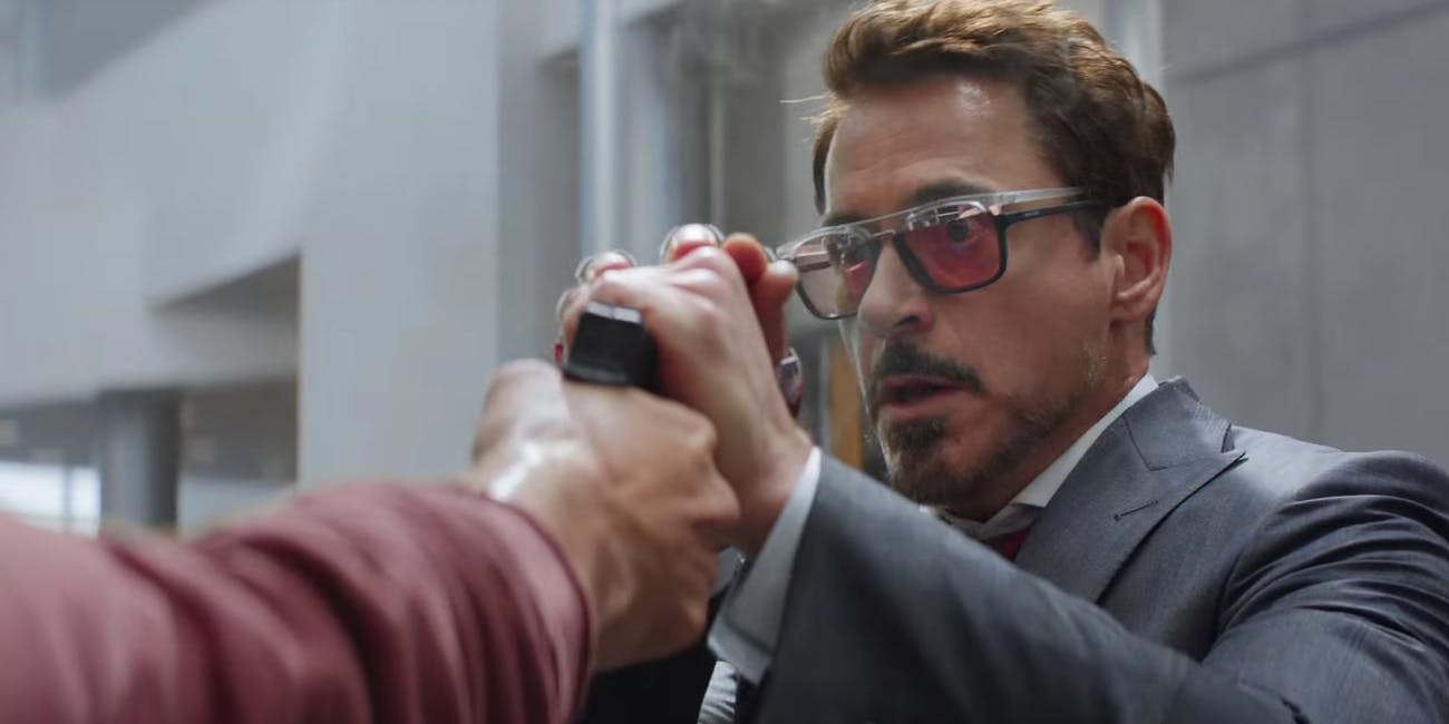 Tony Stark fights the Winter Soldier in 'Captain America: Civil War' using an Iron Man watch.