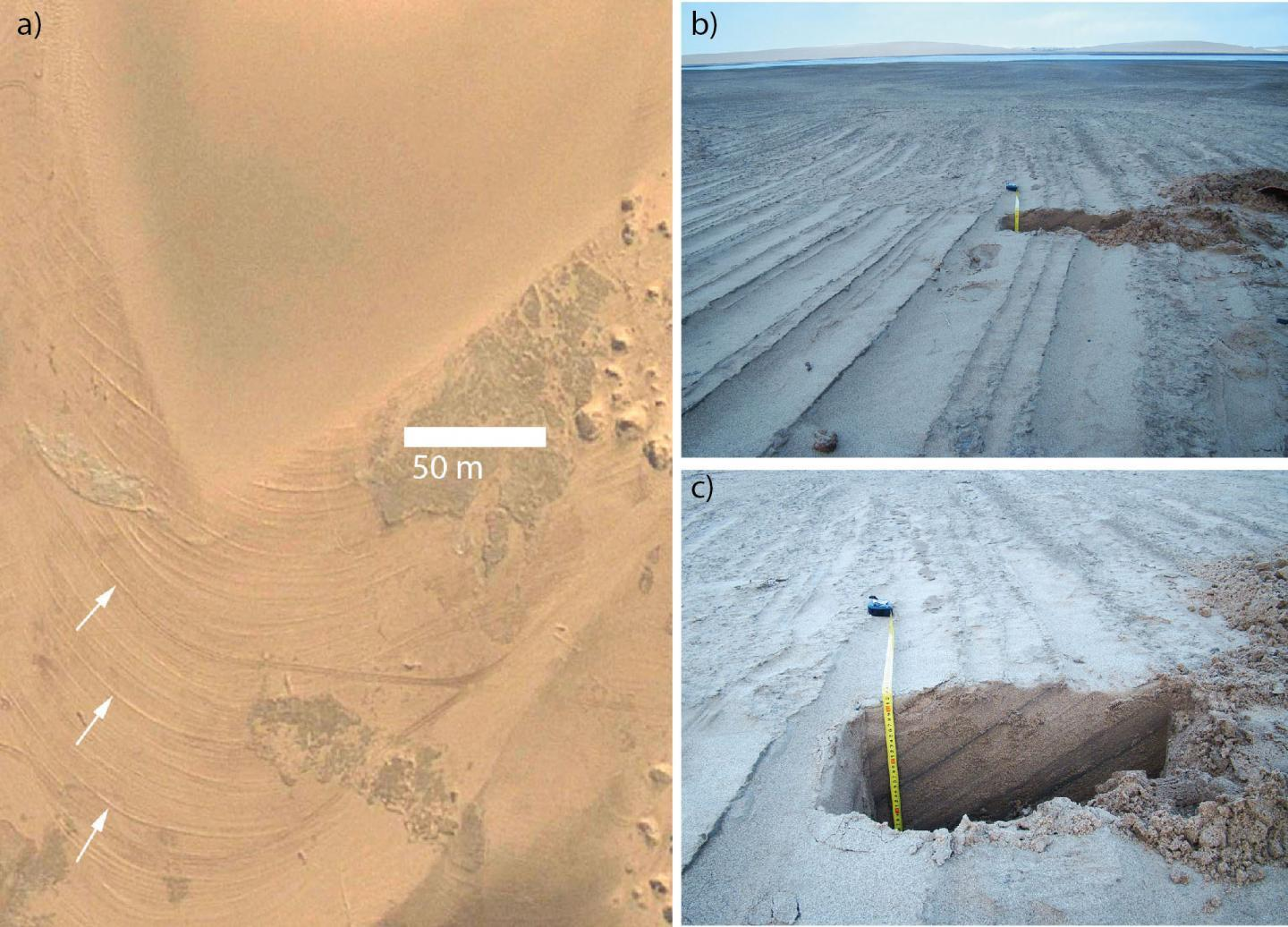 Researchers studied the migration of dunes in Namibia. They hypothesize that similar processes may have occurred on Mars.