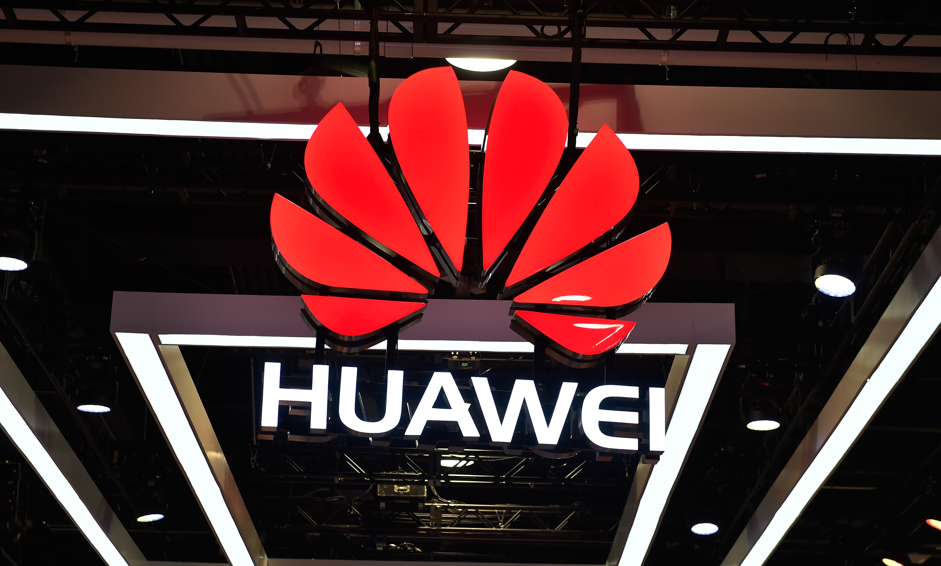 las vegas nv january 09 the huawei logo is display during ces 2018 at the las vegas convention