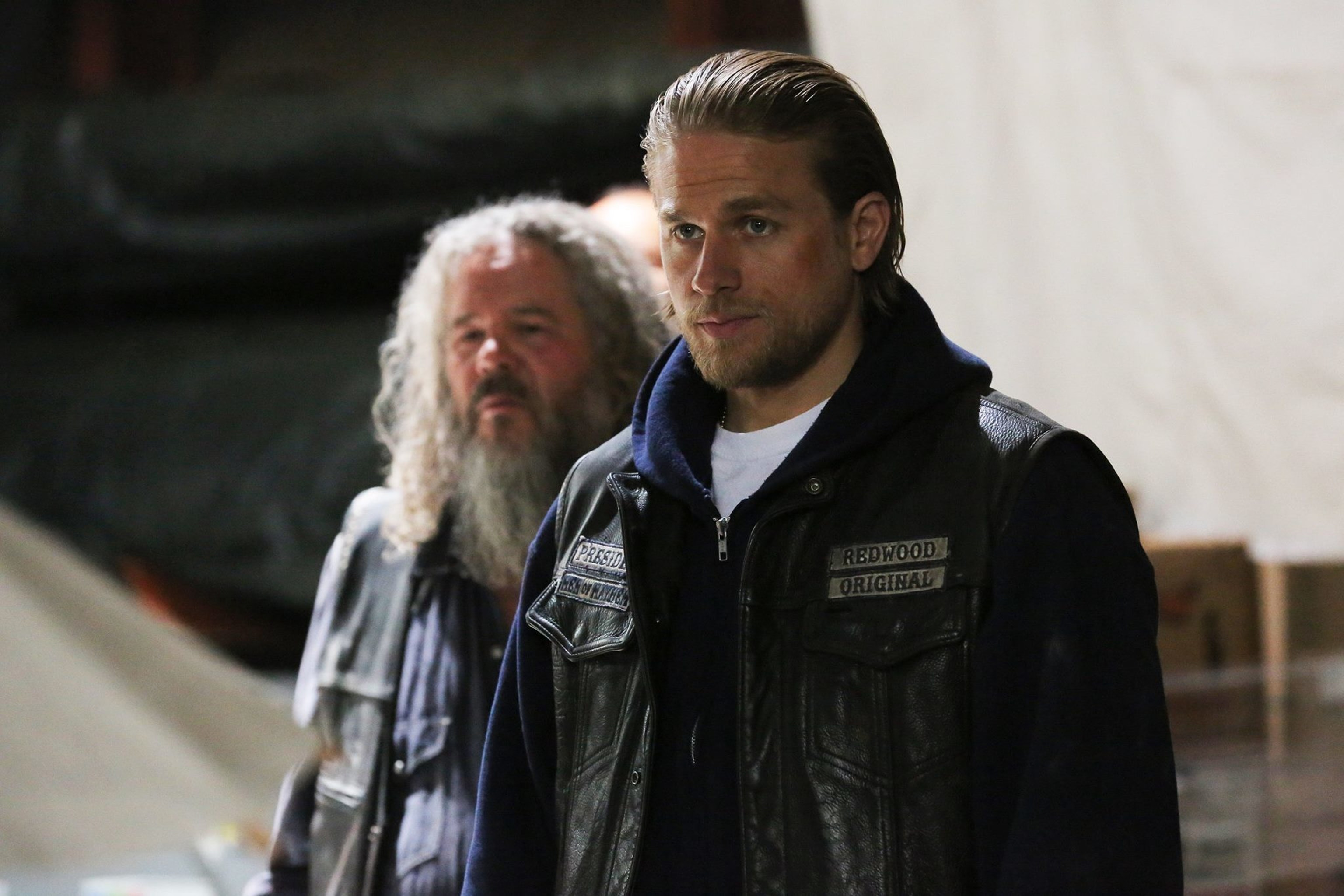 Mark Boone Junior as Bobby and Charlie Hunnam as Jax Teller
