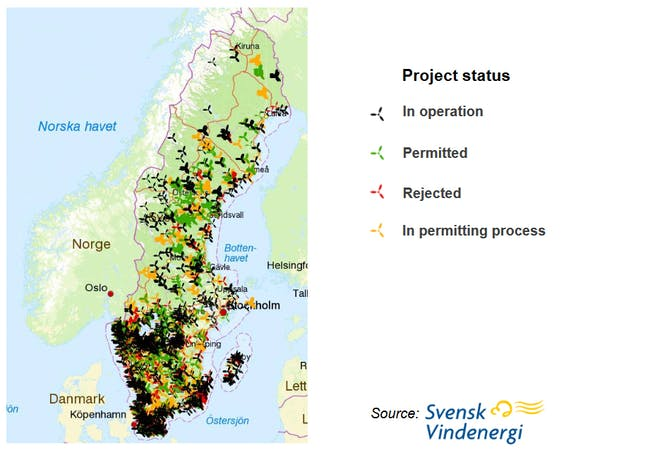 Sweden Wind Turbine infographic sites map