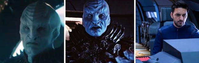 Three faces of Shazad Latif on 'Star Trek': Mirror Voq, Voq, and Tyler
