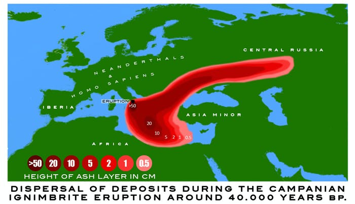 graphic of deposit dispersal during the Campanian Ignimbrite Eruption 40.000 years ago