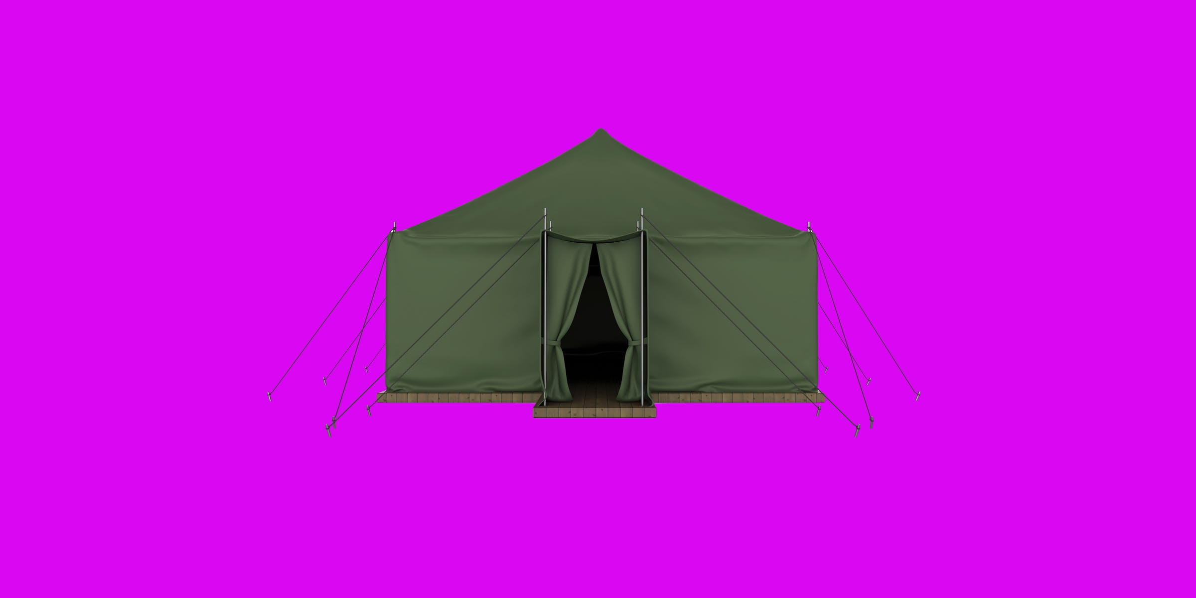 tent on a pink background