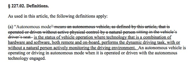 The CA DMV's new proposed regulations clearly define autonomous mode.