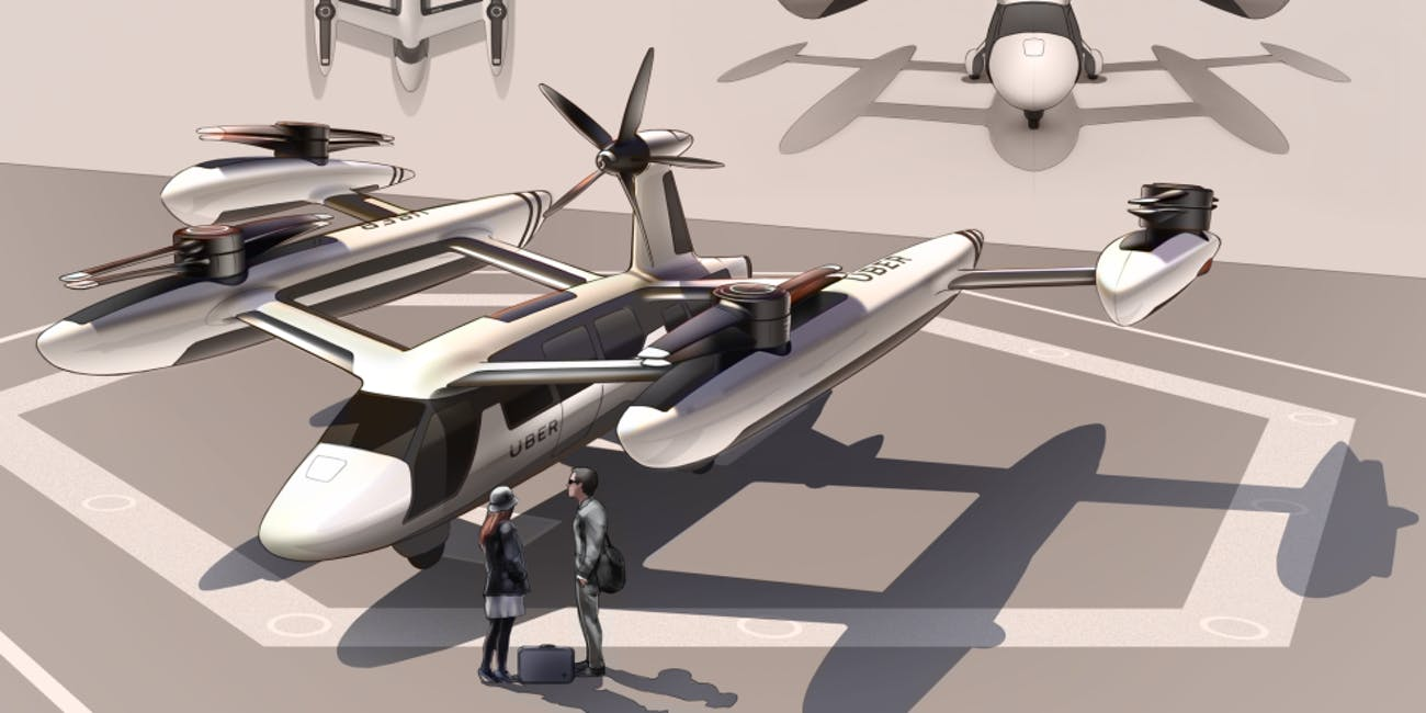 Uber's models of its air taxis that were revealed in May 2018.