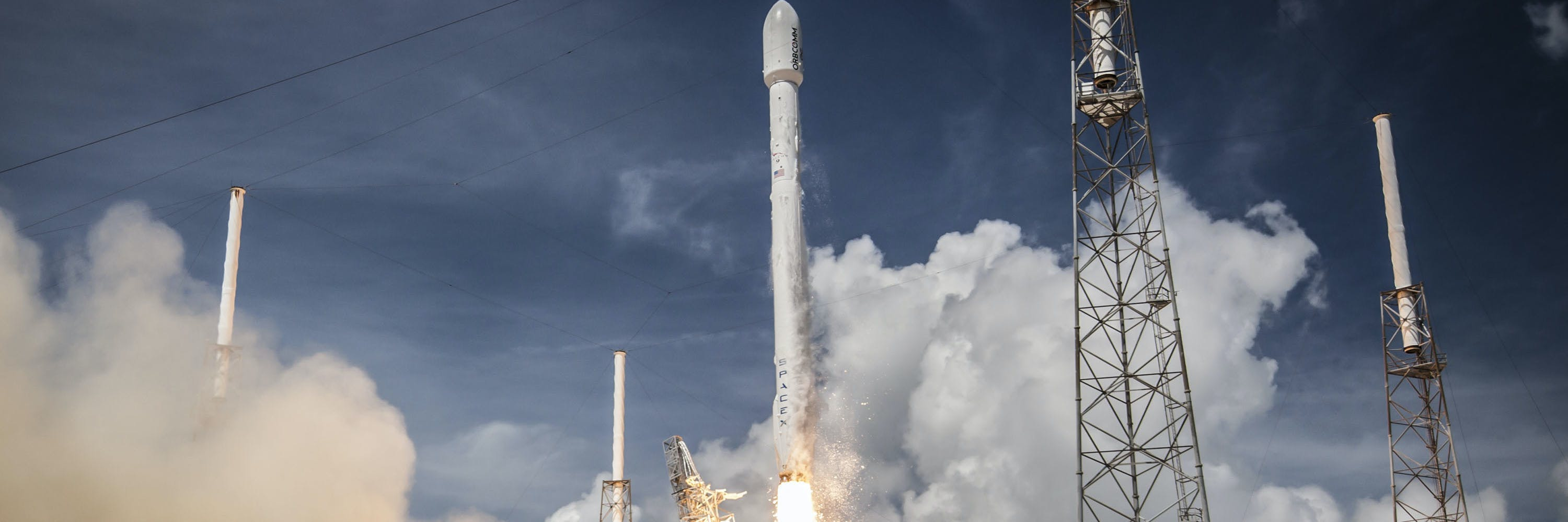 In this handout provided by the National Aeronautics and Space Administration (NASA), SpaceX's Falcon 9 rocket launches the ORBCOMM OG2 Mission 1 on July 14, 2014 in  Cape Canaveral, Florida.