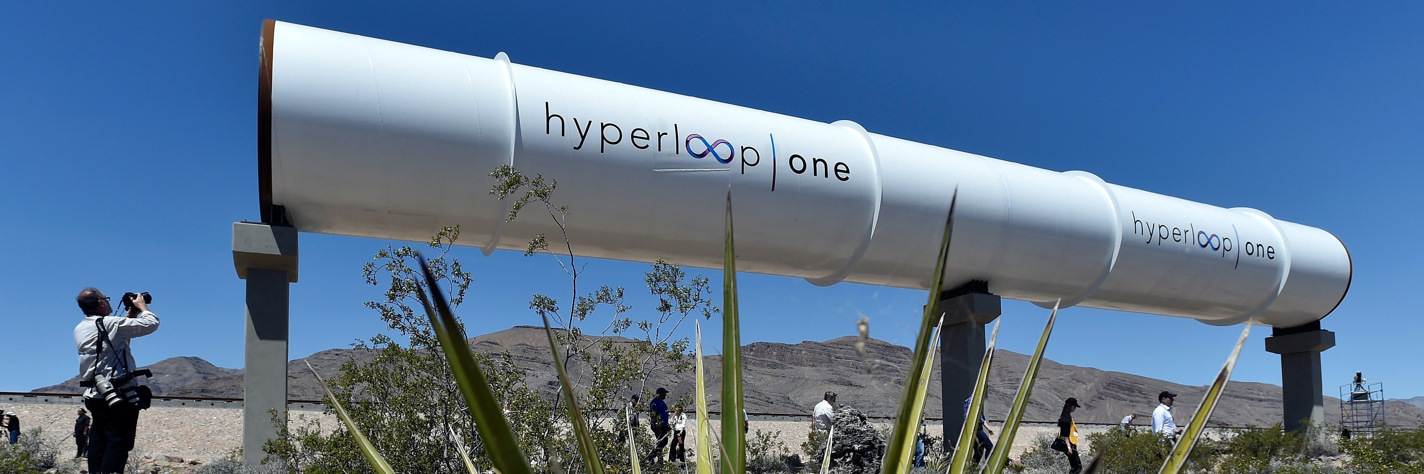 NORTH LAS VEGAS, NV - MAY 11:  Hyperloop tubes are displayed during the first test of the propulsion system at the Hyperloop One Test and Safety site on May 11, 2016 in North Las Vegas, Nevada. The company plans to create a fully operational hyperloop system by 2020.  (Photo by David Becker/Getty Images,)