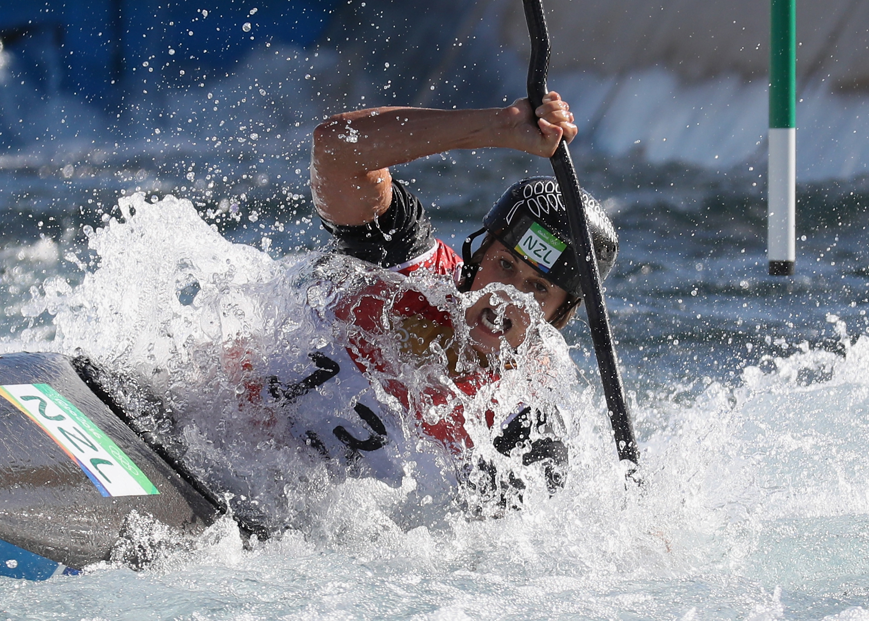 Luuka Jones of New Zealand on her way to cross the finish line and win silver during the Women's Kayak Final.