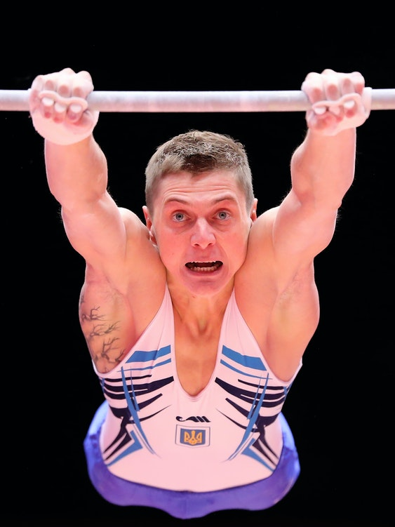 GLASGOW, SCOTLAND - OCTOBER 26:  Maksym Semiankiv of Ukraine competes on the High Bar during day four of World Artistic Gymnastics Championships at The SSE Hydro on October 26, 2015 in Glasgow, Scotland. (Photo by Ian MacNicol/Getty images)