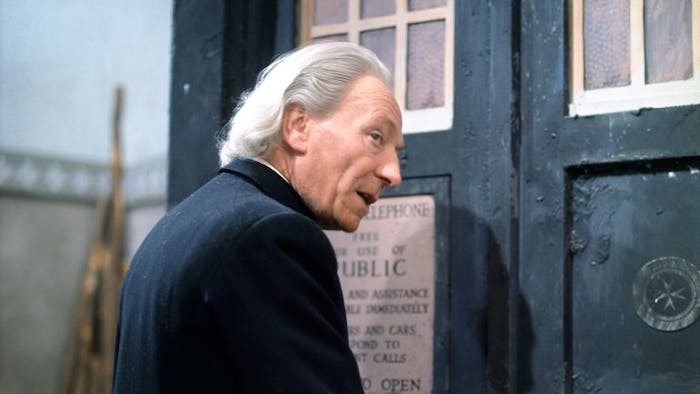 The original Doctor, William Hartnell, with his very distinctive hairstyle.