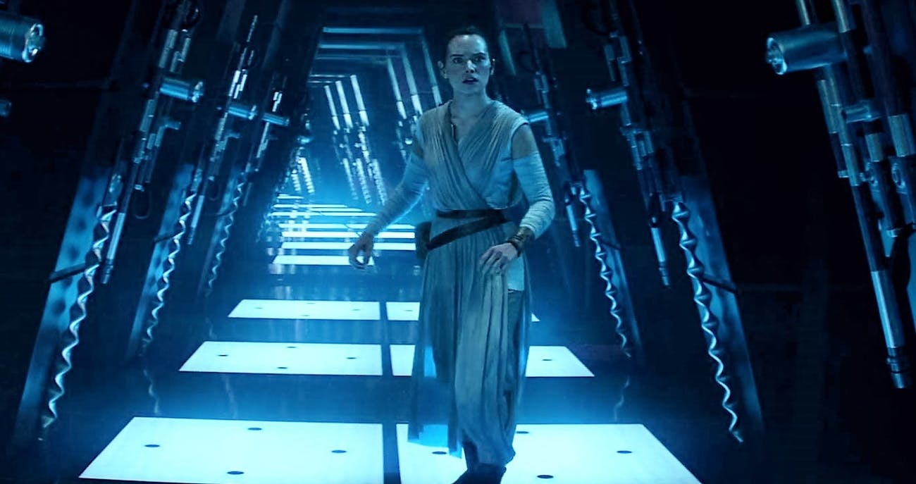 "Rey on Cloud City in her ""Force-Back"" vision in 'The Force Awakens.'"