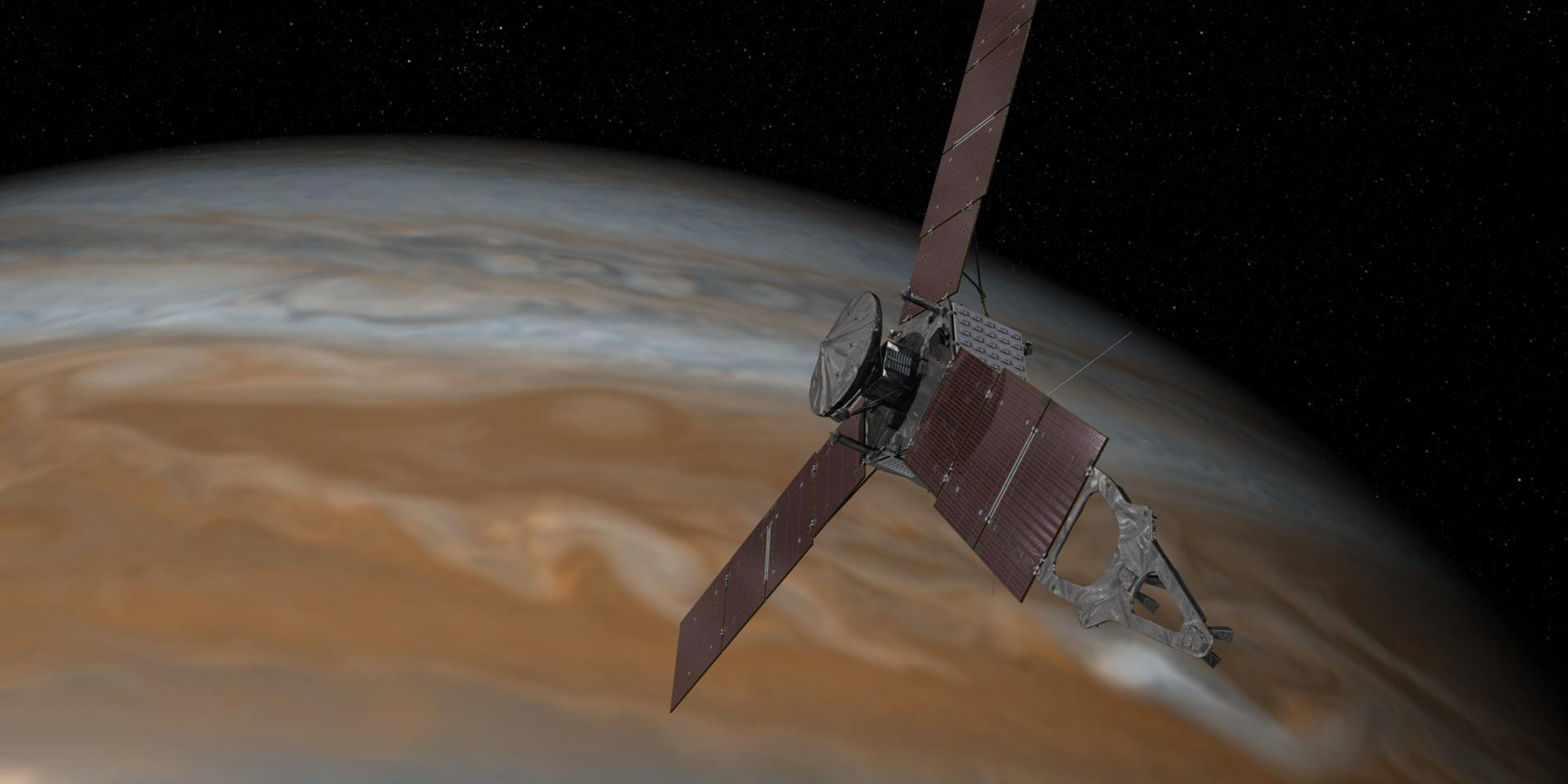 Artist's rendering shows NASA's Juno spacecraft making one of its close passes over Jupiter.