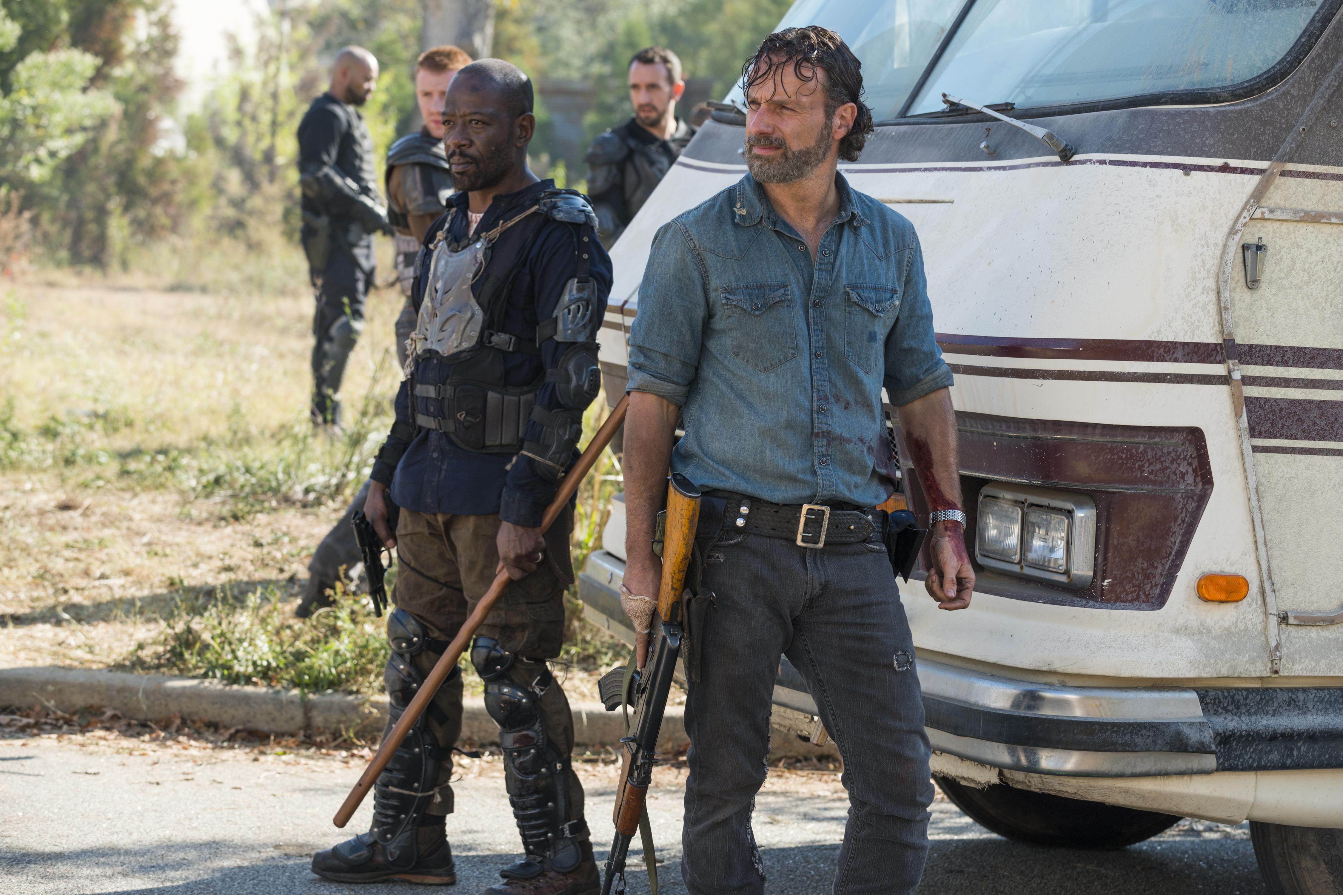 Morgan and Rick in the tense 'Walking Dead' Season 7 finale