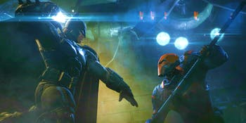 Deathstroke fighting Batman in 'Batman: Arkham Origins'.