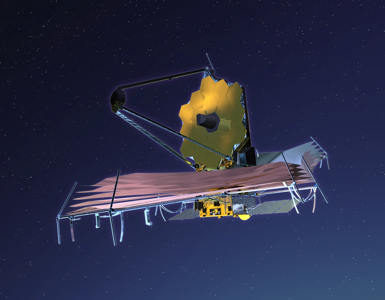 An illustration of the Webb Telescope.