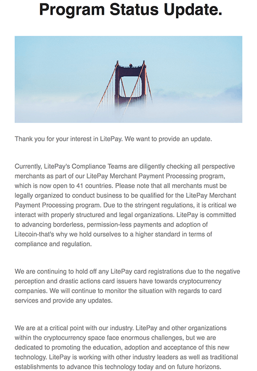 Second Litepay update sent to email list subscribers.