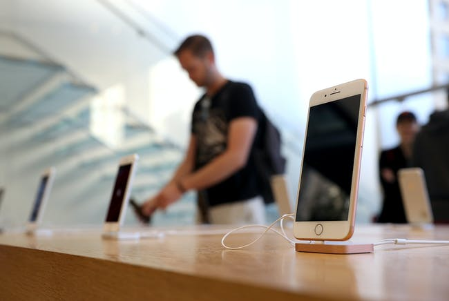 The new Apple iPhone 8 is displayed at an Apple Store on September 22, 2017 in San Francisco, California.