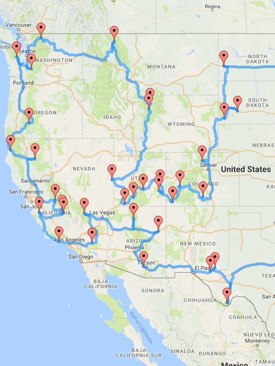 Behold, the optimal route to see the U.S. National Parks.