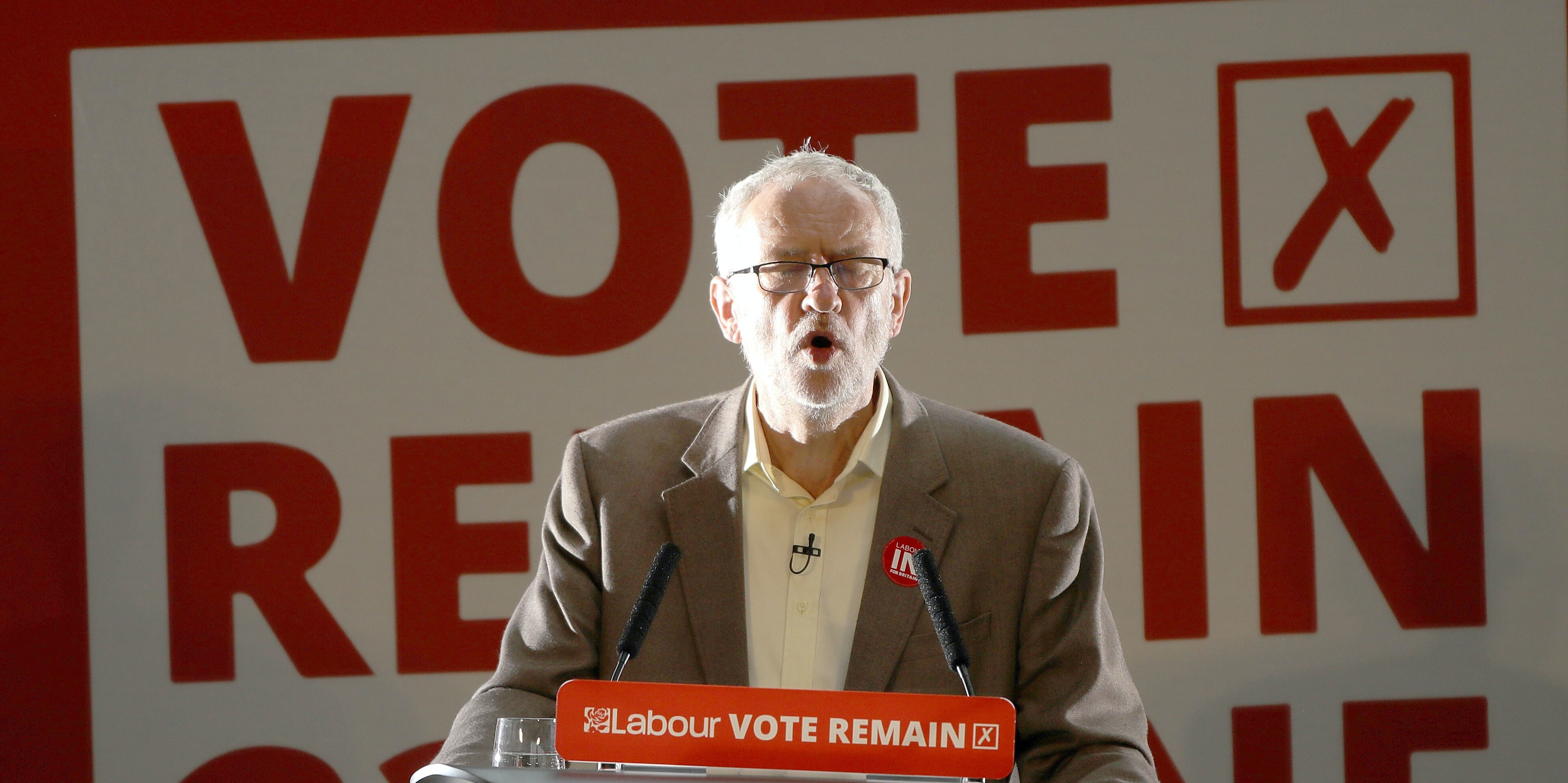 MANCHESTER, UNITED KINGDOM - JUNE 21: Labour Leader Jeremy Corbyn addresses an audience at the People's History Museum and sets out the reasons why Labour is voting remain, in the referendum on June 21, 2016 in Manchester, England. In the final few days of the EU referendum Jeremy Corbyn,  Kate Green MP and Alan Johnson MP, set out the positive case as to why the Labour party is voting to remain. Campaigning continues across the UK as the country prepares to go to the polls on Thursday, to decide whether Britain should leave or remain in the European Union (Photo by Christopher Furlong/Getty Images)