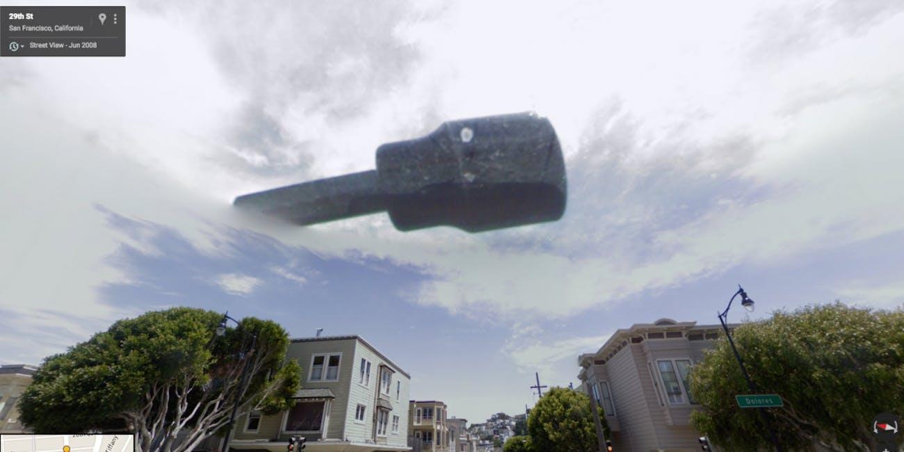 Floating guitar San Francisco California Google Street View map UFO