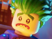 Lego Joker voiced by Zach Galifianakis in the Lego Batman Movie from Warner Bros.