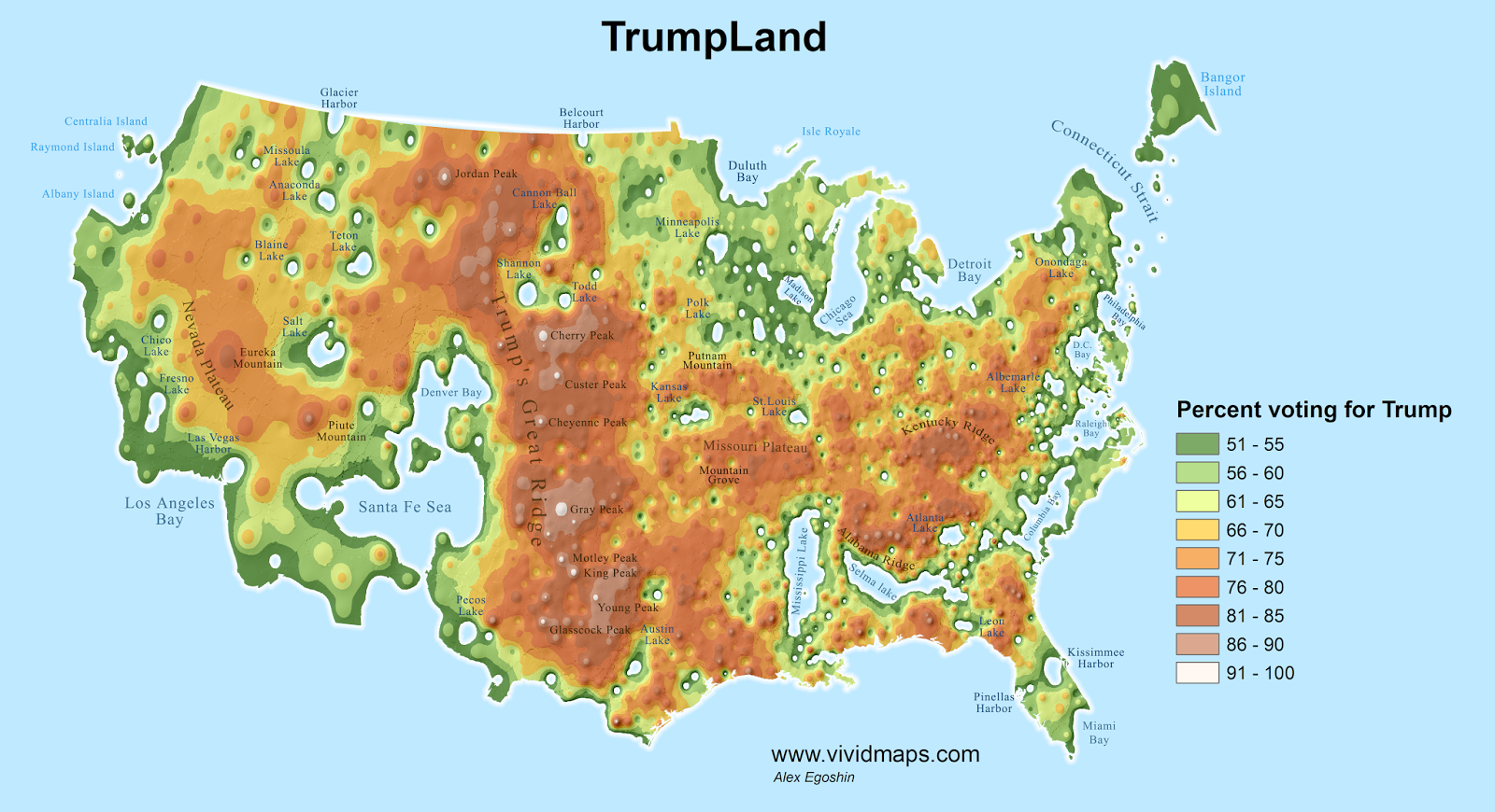 Detailed Maps Split The Us Into Trumpland And The Clinton - Us-detailed-map