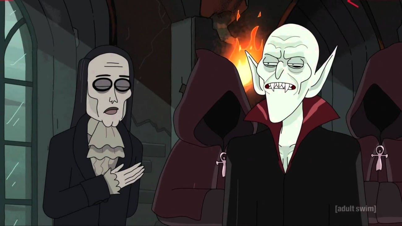 Nosferatu exists in the universe of 'Rick and Morty' and he doesn't seem pleased that Coach Feratu was killed.