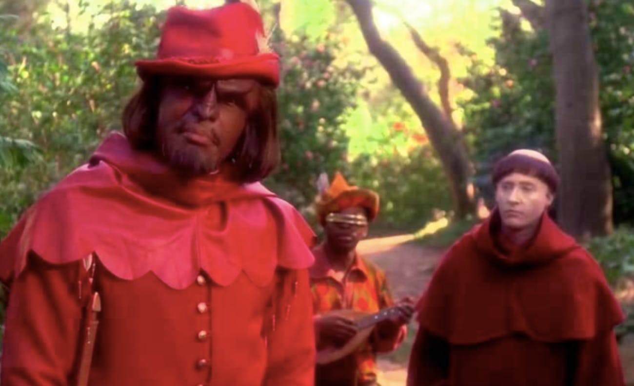 "Worf (Michael Dorn) as Will Scarlet in the 'TNG"" episode 'Q-Pid."""