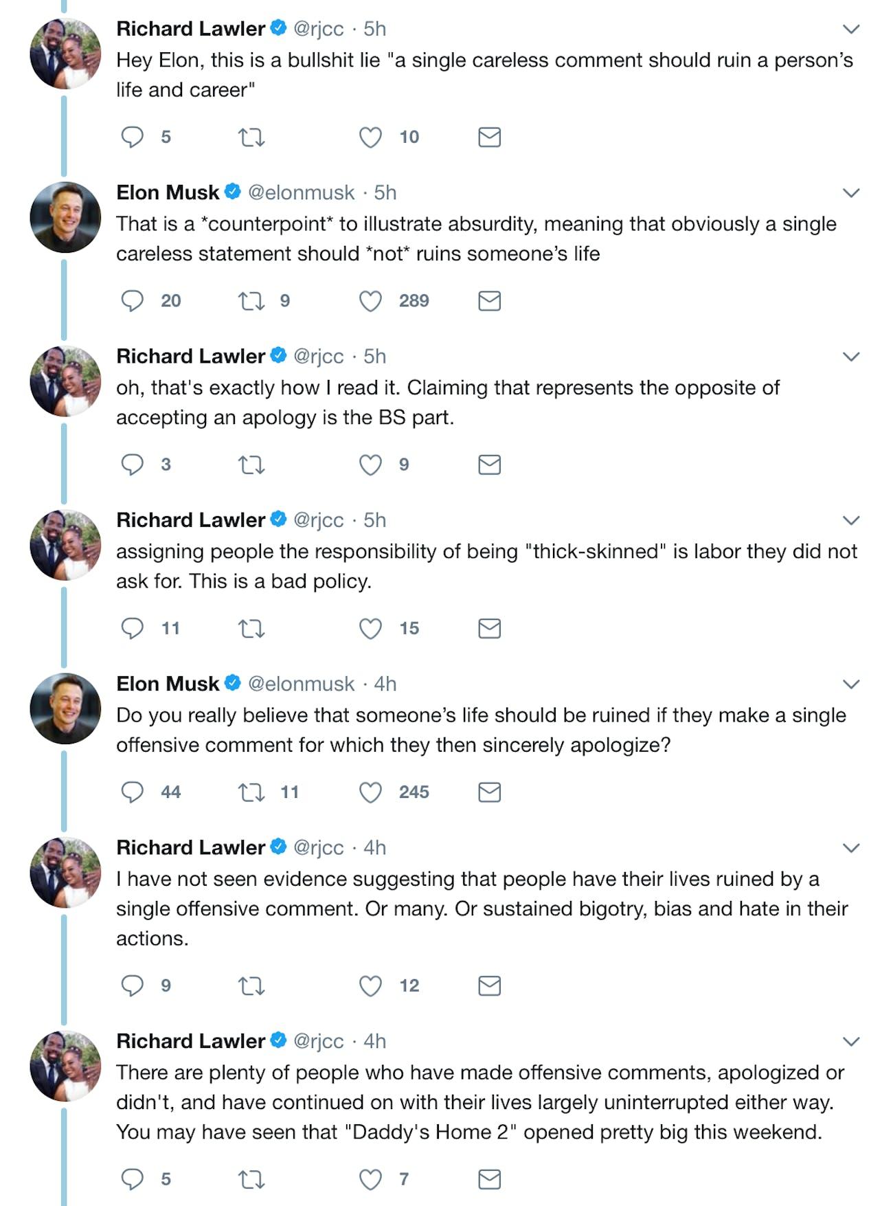The exchange between Lawler and Musk.