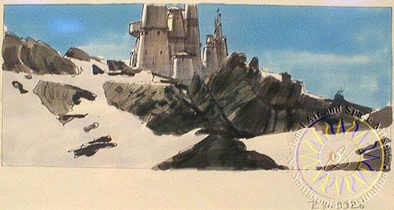 Concept art by Ralph McQuarrie for Darth Vader's castle in the original 'Star Wars' trilogy.