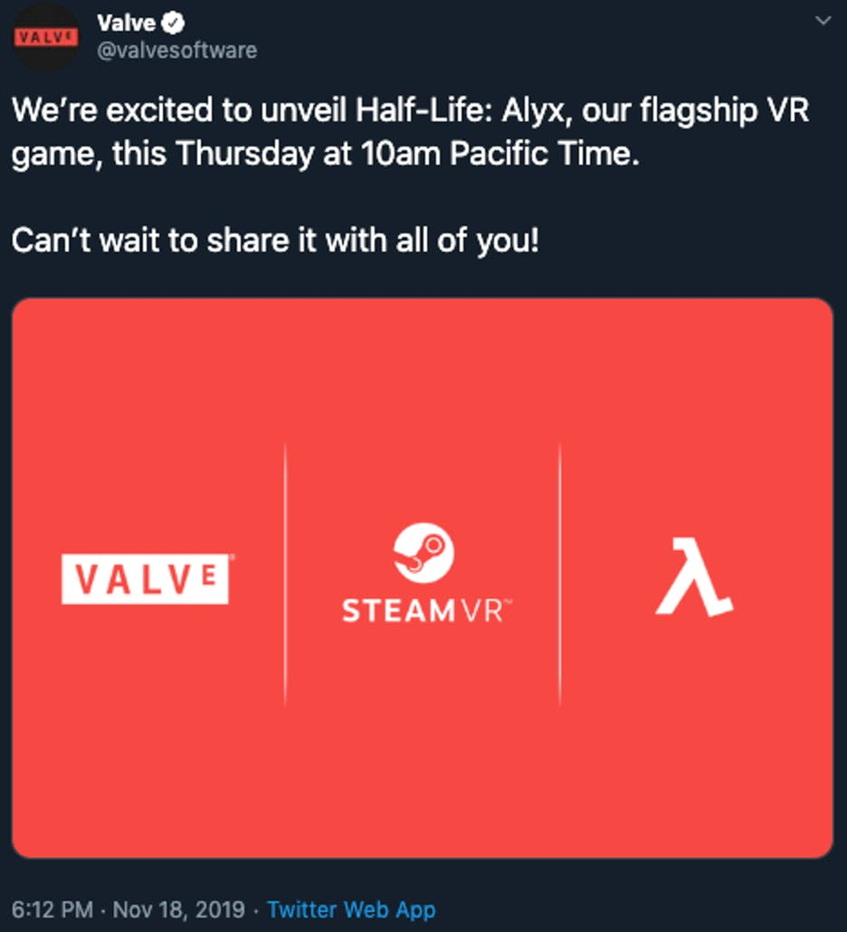 valve tweet half life alyx vr