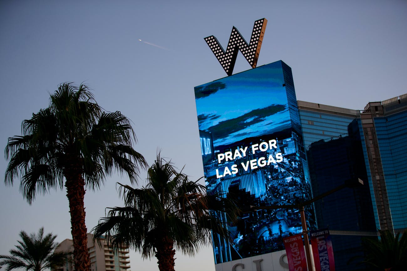 LAS VEGAS, NV - OCTOBER 2: The W Las Vegas displays a message for the victims of Sunday night's mass shooting, October 2, 2017 in Las Vegas, Nevada. Late Sunday night, a lone gunman killed more than 50 people and injured more than 500 people after he opened fire on a large crowd at the Route 91 Harvest Festival, a three-day country music festival. The massacre is one of the deadliest mass shooting events in U.S. history. (Photo by Drew Angerer/Getty Images)