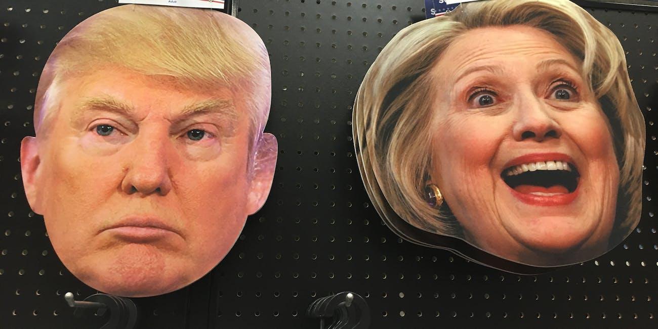 Trump Hillary Clinton Halloween masks at Spirit Halloween Shop 2016