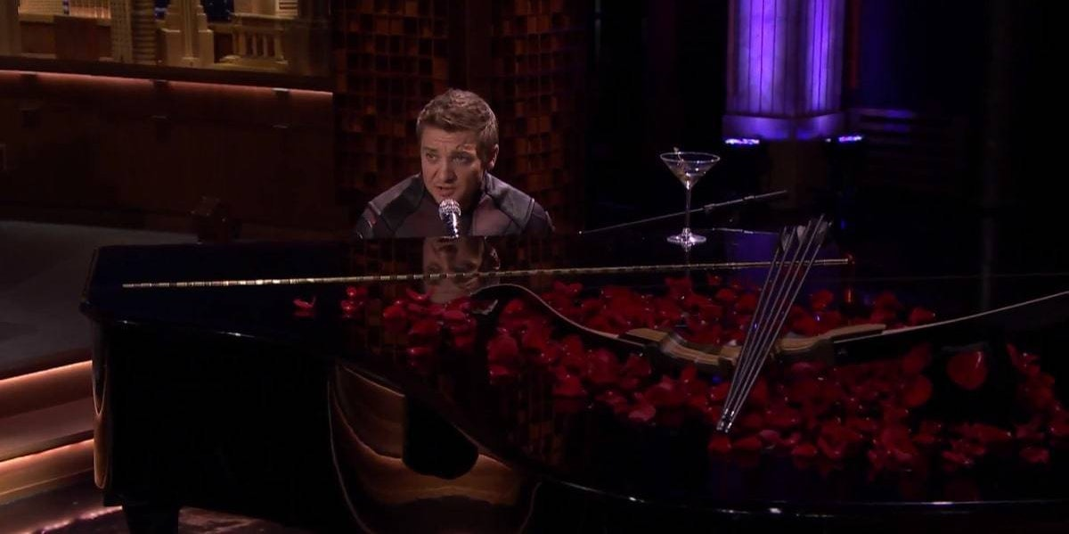 Jeremy Renner as Hawkeye on The Tonight Show with Jimmy Fallon