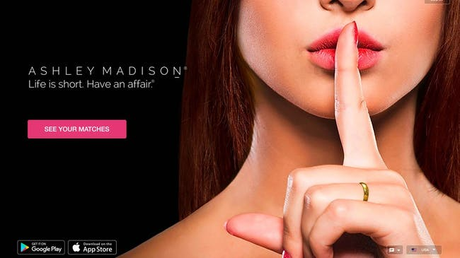 Ashley Madison's branding during the data leak