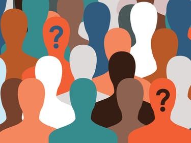 Question marks people anonymous web colors illustration