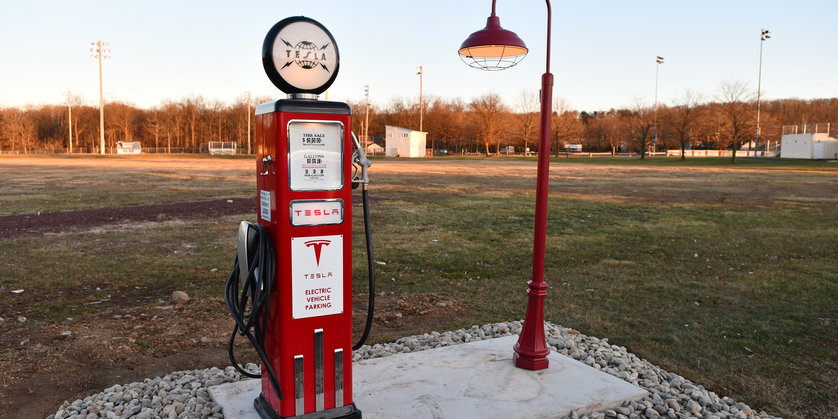 Destination Tesla Chargers Are Capturing the Golden Age of the American Car