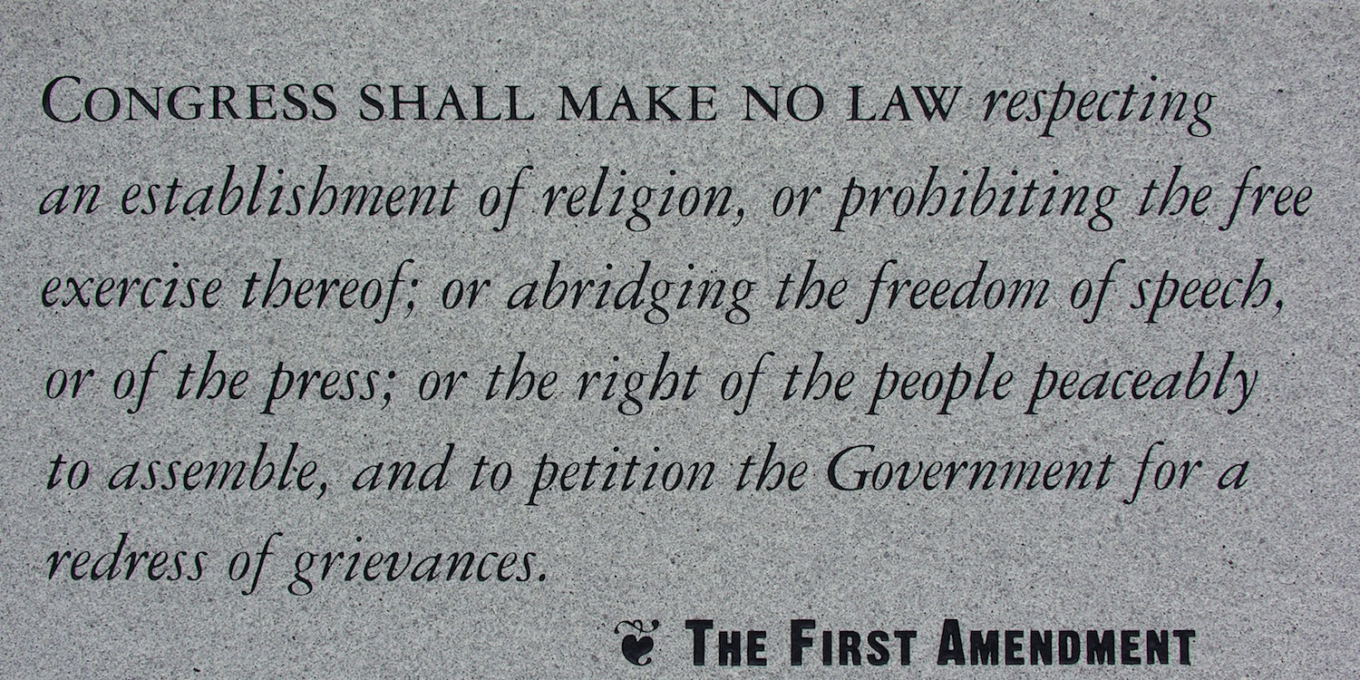 The First Amendment to the U.S. Constitution.