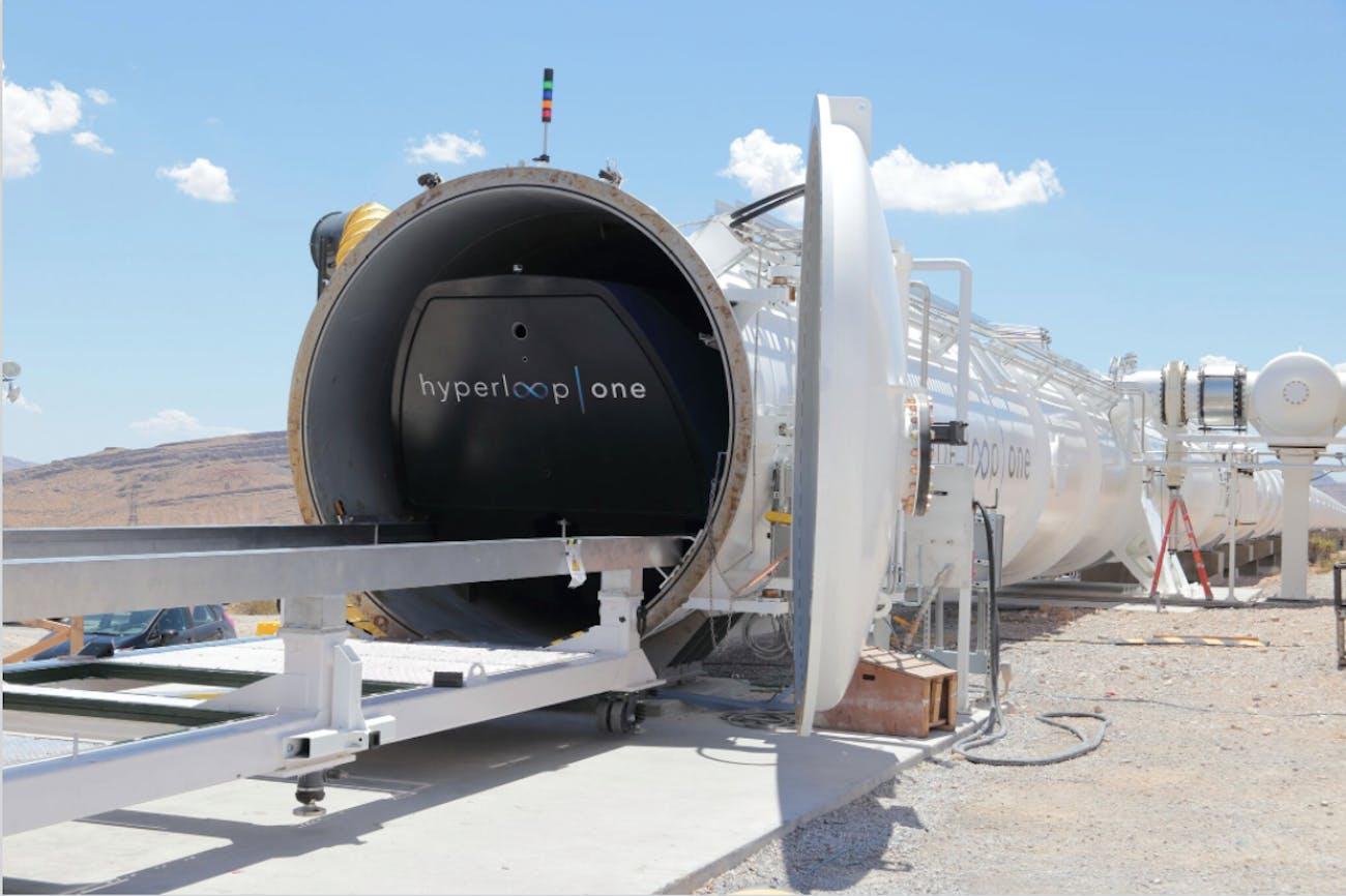 Hyperloop One's pod inside the tube.