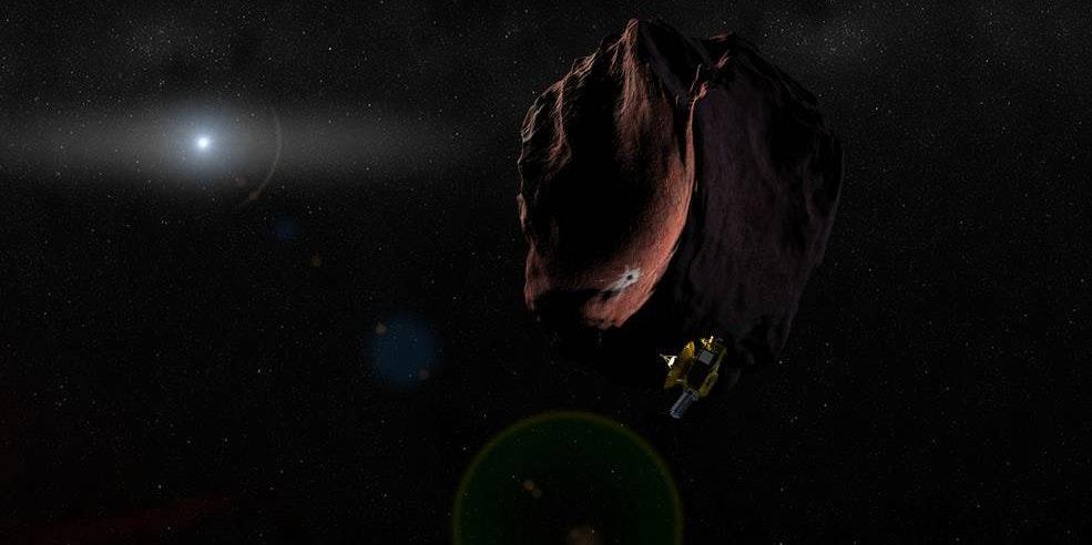 Artist's rendering of the New Horizons spacecraft traveling through the Kuiper Belt.