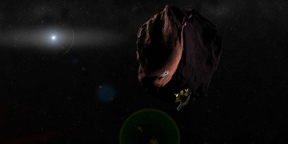Artist's rendering of the New Horizons spacecraft traveling through the Kuiper Belt.