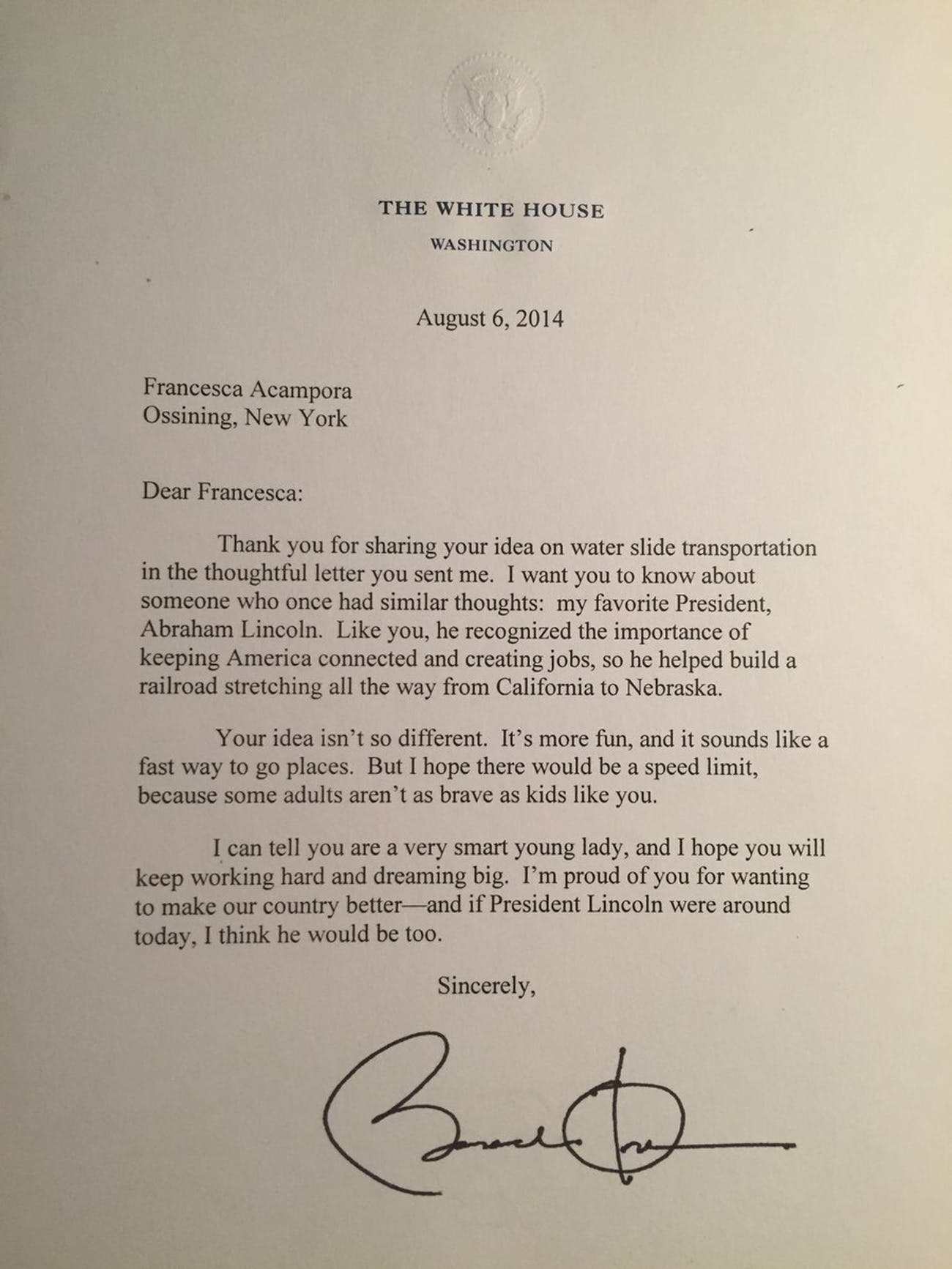 This Letter Shows Obama's Response to an Interstate Waterslide