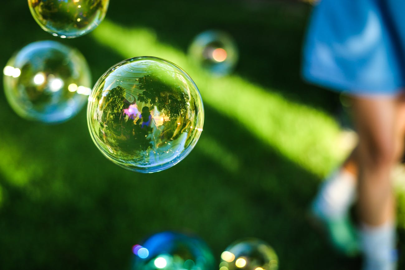 Soap bubbles form something mathematicians call a minimal surface