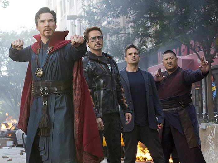 Benedict Cumberbatch, Robert Downey Jr., Mark Ruffalo, and Benedict Wong in 'Avengers: Infinity War'
