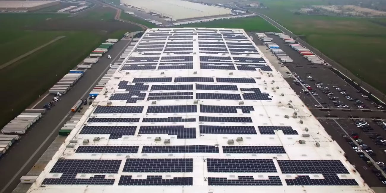 An Amazon rooftop solar array.