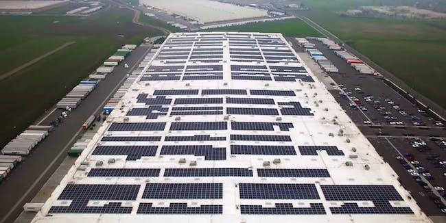 An Amazon rooftop solar array.