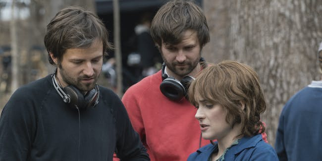 Ross and Matt Duffer on the set of 'Stranger Things' with Winona Ryder