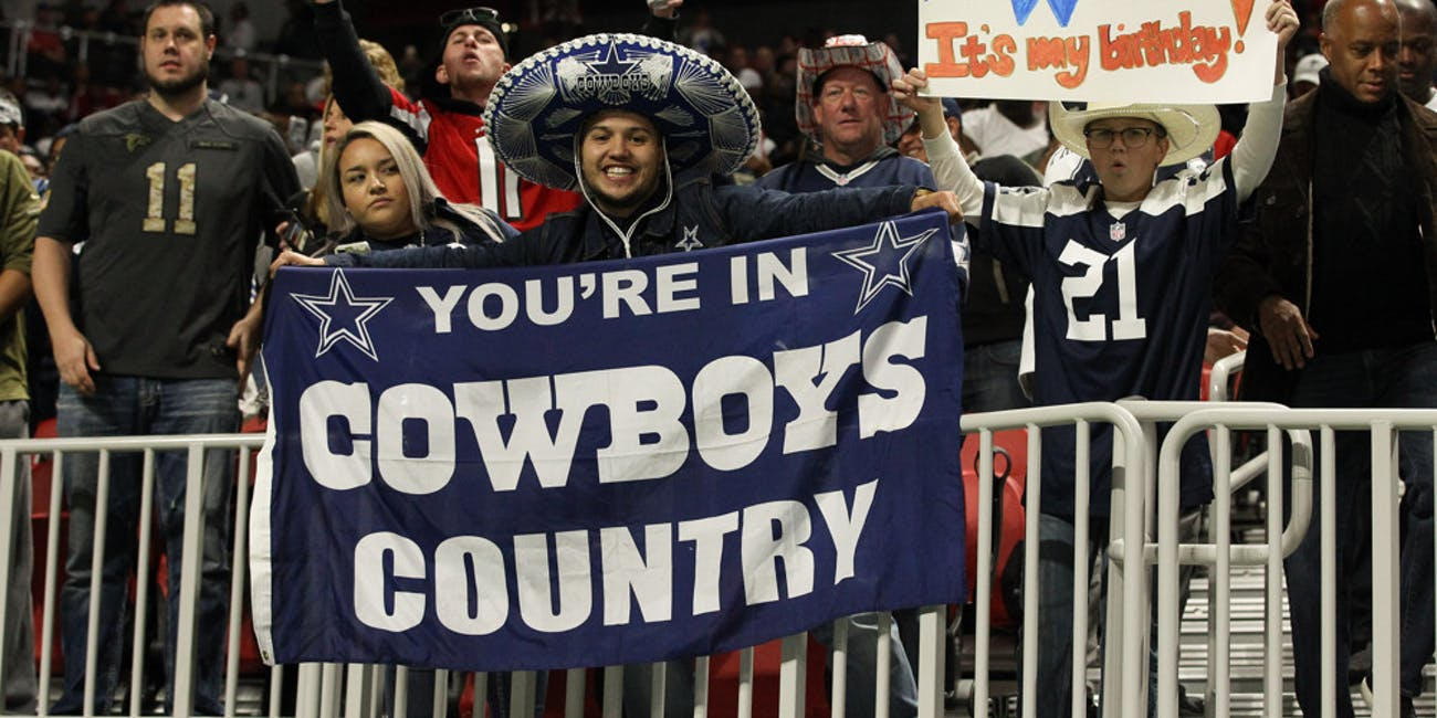 p.p1 {margin: 0.0px 0.0px 0.0px 0.0px; font: 18.0px Georgia}    Dallas Cowboys fans cheering during the NFL game between the Dallas Cowboys and the Atlanta Falcons on November 12, 2017 at the Mercedes-Benz Stadium in Atlanta, Ga. Falcons win 27-17.